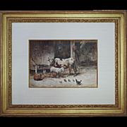 Farm Scene Watercolor Painting Barn signed Gabani - 19th Century, Italy