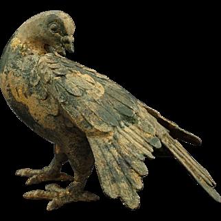 Japanese Patinated Iron Dove / Pigeon / Bird - c. 1950's, Japan