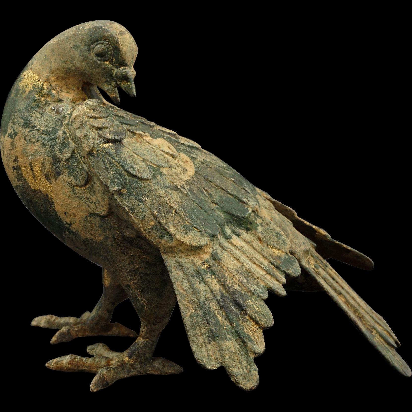 Japanese Patinated Cast Iron Dove / Pigeon / Bird - c. 1950's, Japan