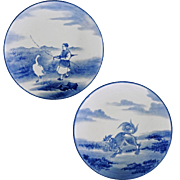 Pair Japanese Plates Blue White Landscape Figural Painting Foo Dog and Goose Herder with Parasol