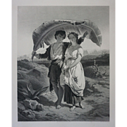 Antique Engraving Paul et Virginie after J. Van Lerius - c. 1860, France