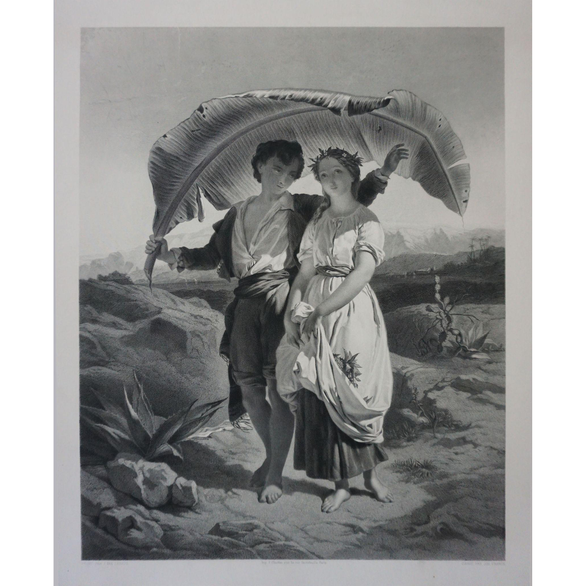 Antique Engraving Paul et Virginie after J. Van Lerius - c. 1860, France