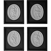Set 4 Meissen Oval Relief Biscuit Plaques Framed Muses - 1981, Germany