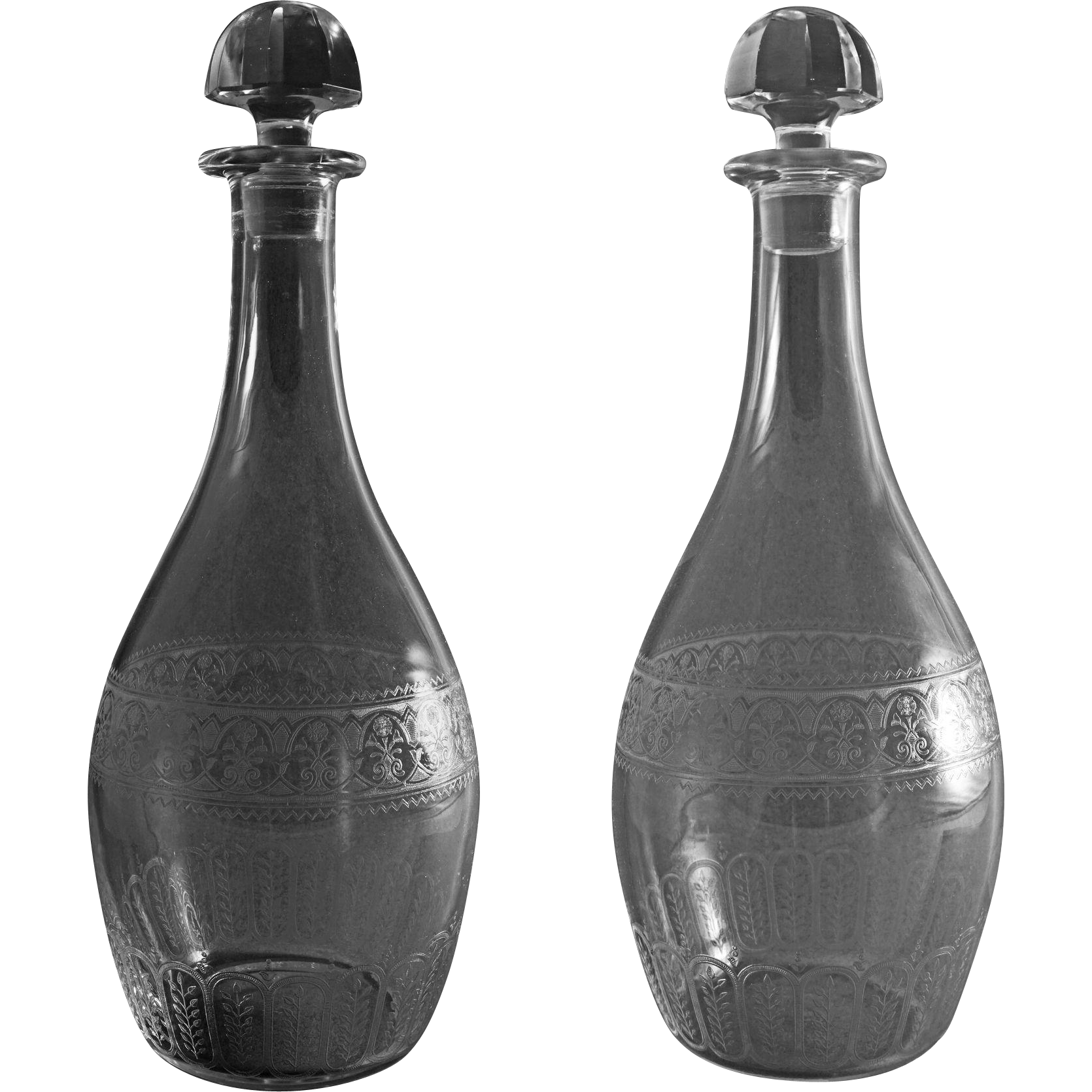 Pair Baccarat Etched Crystal Decanters and Original Stoppers  -  after 1920, France