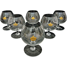 Set Six Baccarat Napoleon Gilt Crown Crystal Snifters / Glasses - 20th Century, France