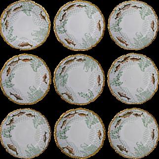 Set 9 Antique Limoges Porcelain Fish Plates T&V Seaweed Nets Decor - circa 1907, France