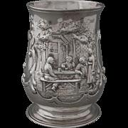 Georgian Sterling Silver Tankard / Mug / Cup Ale House Scene - 1759, England