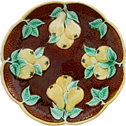 Majolica Pear Plate Yellow Green Brown Bark Scalloped Border - c. 19th Century, England