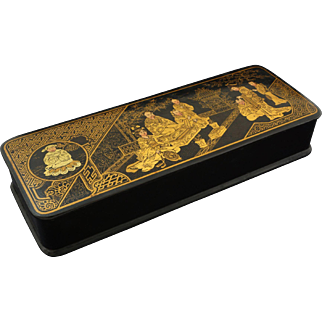 Japanese Papier Mache Lacquer Rectangular Hinged Lid Box Geishas Temple - c. 1900's, Japan