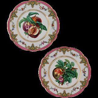 Pair Old Paris Peach Bee Porcelain Fruit Plates Marked H. BEZIAT PARIS - 19th Century, France