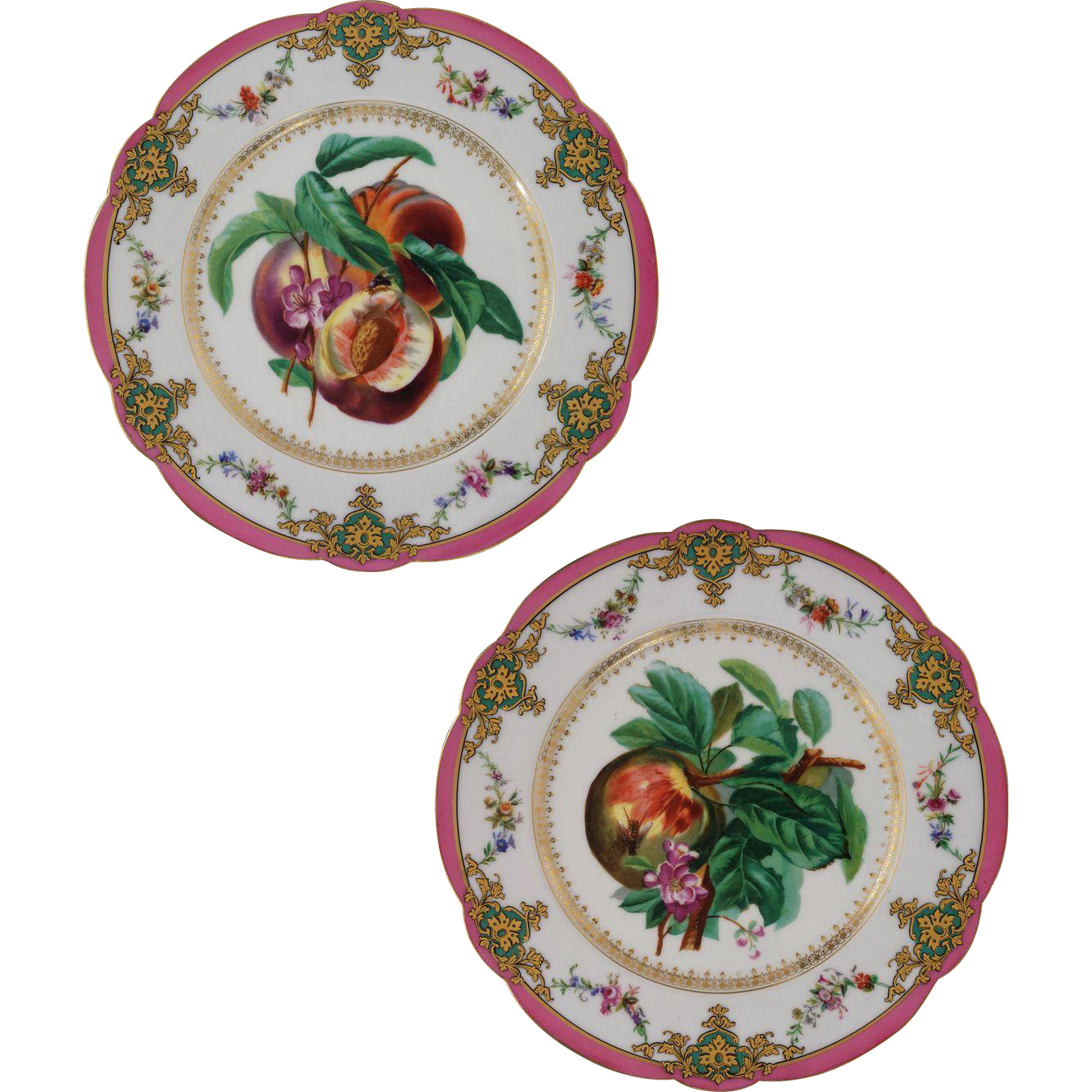 Pair Old Paris Peach Bee Porcelain Fruit Plates Marked H. BEZIAT PARIS - 19th Century, France