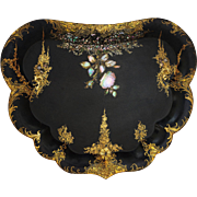 Antique Victorian Papier Mache Butler's Tray Black, Gilt, MOP - 19th Century, England