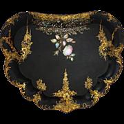 Antique Victorian Papier Mache Butler's Tray Black, Gilt, MOP - 19th Century, England
