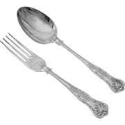Pair Sheffield Serving Pieces Fork Spoon Kings Pattern Silver Plate - 20th Century, England