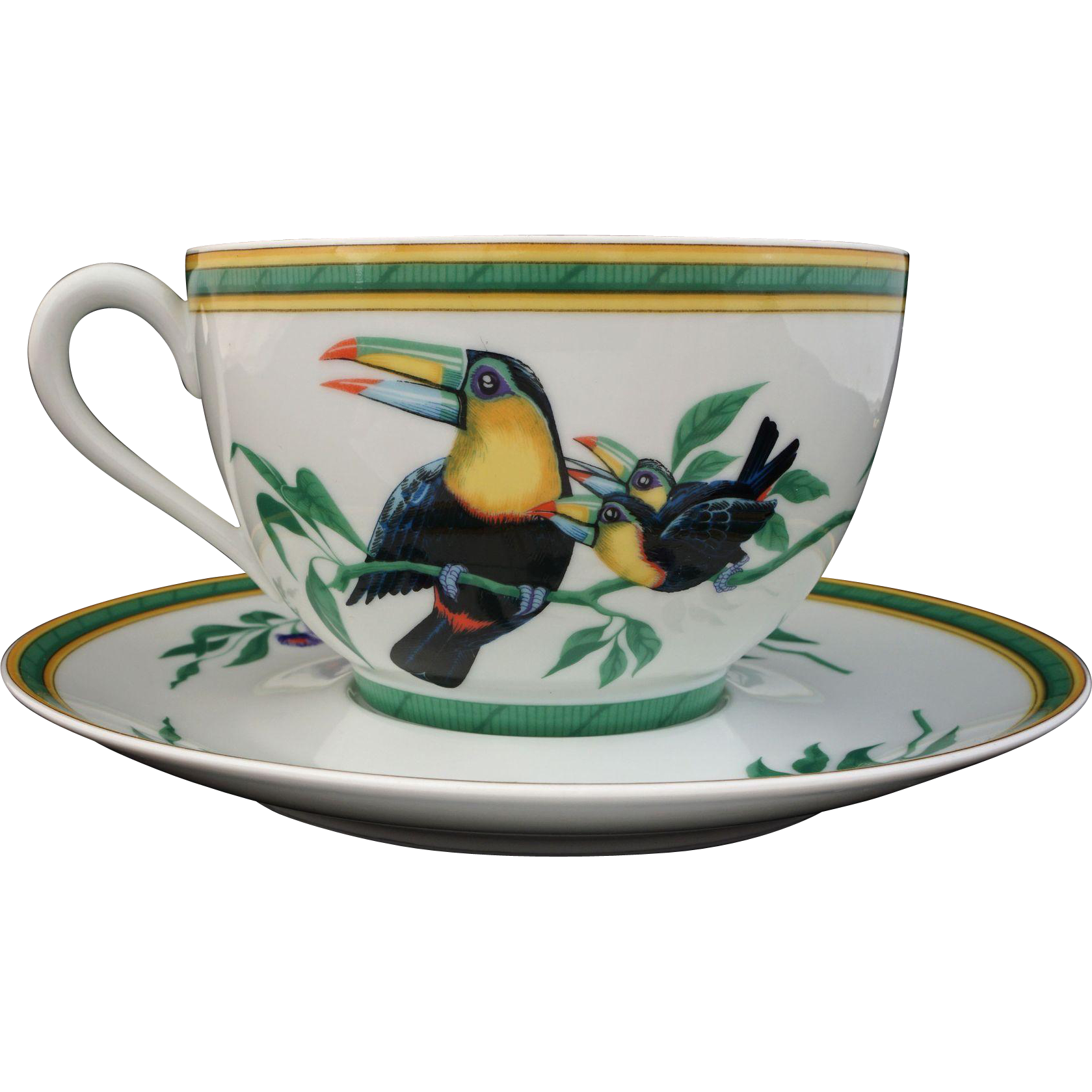 Hermes Toucan Pattern Large Cup and Saucer Porcelain - 20th Century, France