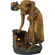 Cherc for Goldscheider Earthenware Figure Vienna Art Nouveau / Jugendstihl Monumental Bronzed Terracotta Light Signed - c. 1890, Austria