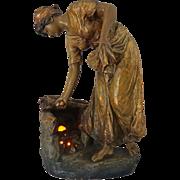 Cherc for Goldscheider Earthenware Figure Vienna Art Nouveau / Jugendstihl Monumental Bronzed Terracotta Light Signed - c. 1890, Austria
