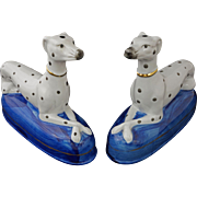 Pair Staffordshire Style Dalmatian Figurines on Blue Plinth - 20th Century