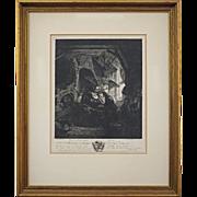Antique Antoine de Marcenay Etching Tobie Recouvrant la Vue inscribed Rembrandt pt. - circa 1755, France