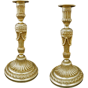 Pair French Louis XVI Style Gilt Chased Bronze Candlesticks Garlands - 19th Century, France