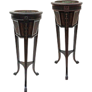 Pair Caned French Style Tall Plant Stands / Ferneries / Planters / Jardinieres - circa 1920, USA