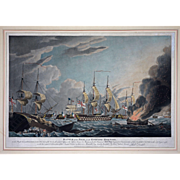 Battle of the Nile, On the Ensuing Morning Aquatint by Robert Dodd - 1799, England