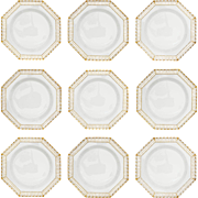 Set KPM Reticulated Royal Berlin Octagonal Plates White Gilt - 20th Century, Germany