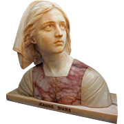 Alabaster and Pink Marble Bust Joan of Arc / Jeanne d'Arc signed Prof. G. Bessi - c. 1900's, Italy