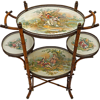 English Bamboo Tiered Porcelain Trays Side Occasional Table - 19th Century, England