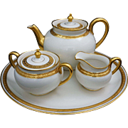 Limoges Porcelain Tea Set with Tray Off White Gilt Theodore Haviland