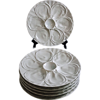 Set 6 French Pillivuyt White Modern Majolica Oyster Plates- 20th Century, France