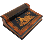 Antique Lap Desk Ecritoire Inlaid Lion Marquetry Writer's Box - 19th Century