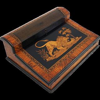 Antique Lap Desk Ecritoire Inlaid Lion Marquetry Writer's Box - 19th Century