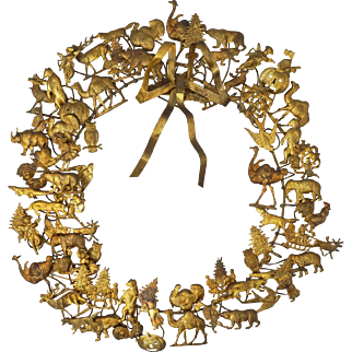 """Large 17"""" Petit Choses Dresden Brass All Season Holiday Wreath"""