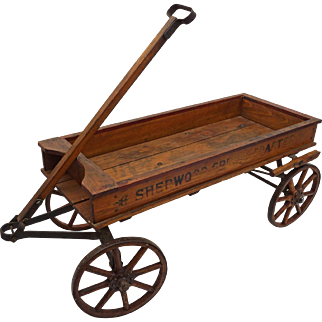 Child's American Wood Wagon Sherwood Spring Coaster - 1920's, USA