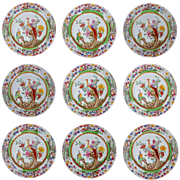 Set 10 Ashford Bros Asiatic Birds Plates Transferware Multicolor Pattern C221 - 19th Century, England