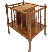Faux Bamboo Canterbury / Magazine Rack / Side Table Burled Veneer Wood