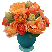 Flower Bouquet Rose, Poppy, Protea Arrangement Orange, Coral, Peach, Glazed Turquoise Pottery Pot / Vase
