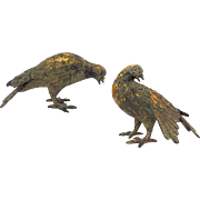 Pair of Japanese Patinated Cast Iron Doves / Pigeons / Birds - c. 1950's, Japan