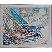 America's Cup Leroy Neiman Original Serigraph 19th Challenge Newport Martha's Vineyard to Block Island - 20th Century, USA