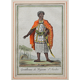 Pair Antique French West Africa Costume Engravings on Laid Paper Framed Labrousse / St. Sauveur - late 18th Century, France