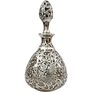 Sterling Silver on Glass Overlay Decanter with Stopper - circa 1899, USA