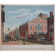 Birch's Views of Philadelphia Engraving New Lutheran Church Architectural Americana