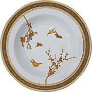 Brown Westhead Moore Bowl Pattern Gilt Silver Birds and Blossoms H1653