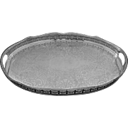 Large English Sheffield Gallery Serving Handled Tray Serpentine Silver Plated - 20th Century, England