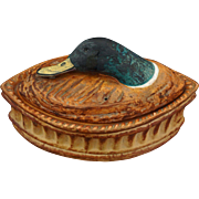 French Pillivuyt Game Terrine / Tureen Mallard Duck Head Size 1 Glazed Porcelain - 20th Century, France