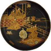 Lacquered Papier Mache Japanese Circular Plate / Tray - c.  1900, Japan