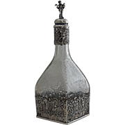 Silver Mounted Etched Glass Decanter / Bottle Storck & Sinsheimer Overlay - 1874 to 1926, Hanau, Prussia