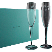 Pair Tiffany & Co. Crystal Daisy Champagne Flutes Original Labels and Box - 20th Century, USA