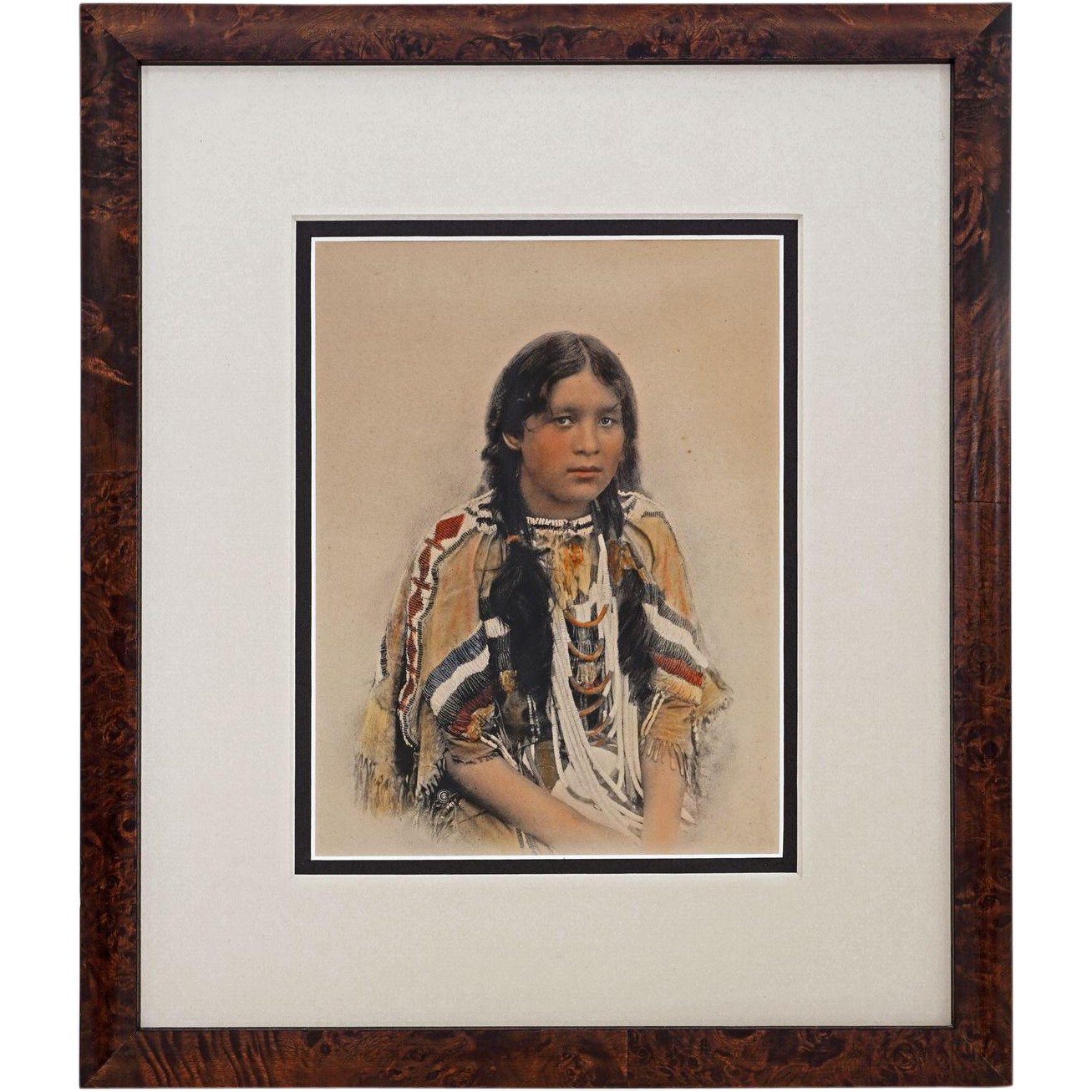 Native American Young Woman / Girl in Beaded Dress Tinted Photograph / Print Framed